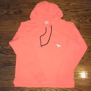 Pink Victoria's Secret Hooded Long Sleeve Tee